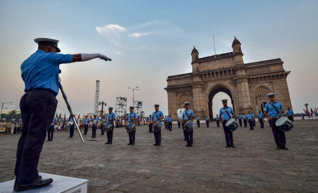 Members of the Naval Band participate in a rehearsal of Beating Retreat and Tattoo Ceremony at Gateway of India in Mumbai on Friday, Nov. 30, 2018. (PTI Photo/Mitesh Bhuvad)