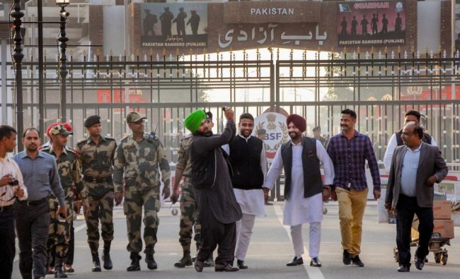 Attari: Punjab Cabinet Minister Navjot Singh Sidhu arrives after attending the groundbreaking ceremony for the Kartarpur Corridor, at the India-Pakistan Wagah Post, about 35km from Amritsar, Thursday, Nov. 29, 2018. (PTI Photo)