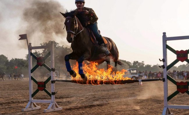 A horse rider displays his skills during Military Literature Festival, in Chandigarh. (PTI Photo)