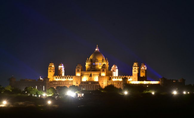 A view of the illuminated Umaid Bhawan Palace, the venue for the wedding of actress Priyanka Chopra and singer Nick Jonas. (Reuters Photo)