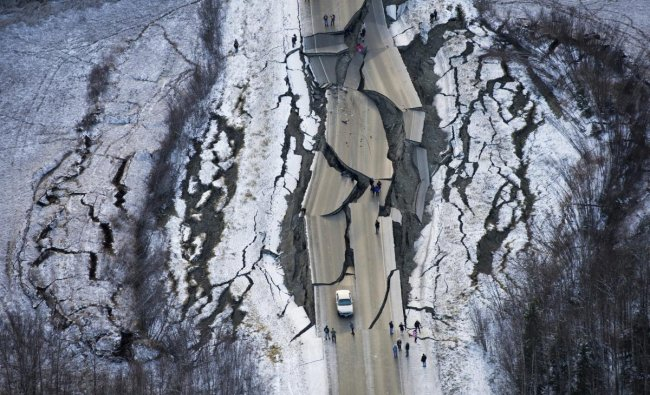 An aerial photo shows damage on Vine Road, south of Wasilla, Alaska, after back-to-back earthquakes measuring 7.0 and 5.7 shattered highways and rocked buildings in Anchorage and surrounding areas. (AP/PTI Photo)