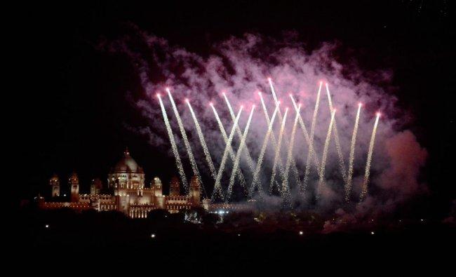Fireworks at Umaid Palace on the occasion of actress Priyanka Chopra and Nick Jonas wedding ceremony in Jodhpur. (PTI Photo)