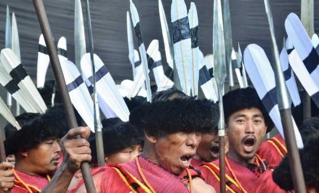Cultural troops perform on the 3rd day of Hornbill Festival 2018, in Kohima. (PTI Photo)