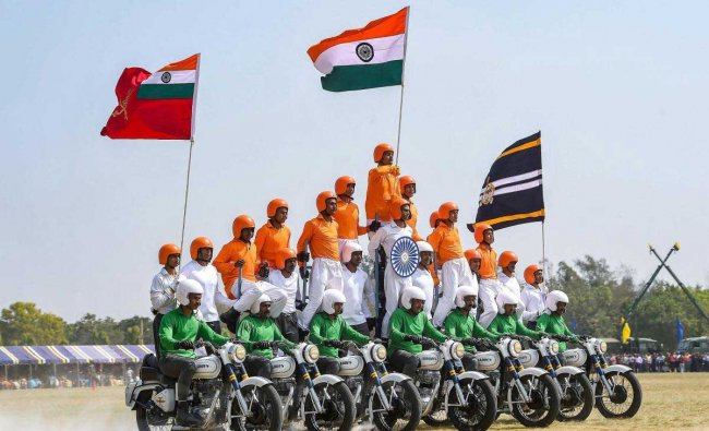 A motocycle team \'Tornadoes\' of Army Service Corps display their skills during the celebration of 258th anniversary of Army Service Corps (ASC), in Bengaluru, Sunday, Dec. 9, 2018. (PTI Photo)