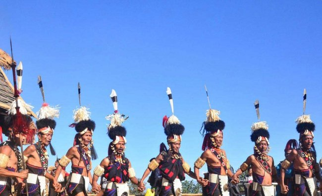 Naga tribesman from Khiamniungan perform on the last day of Hornbill Festival at Kisama near Kohima, Monday, Dec. 10, 2018. (PTI Photo)