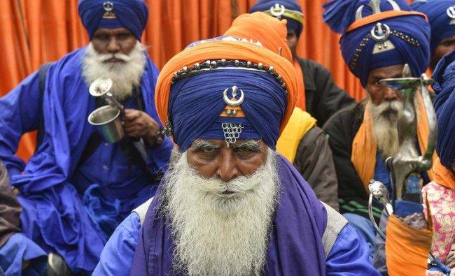Nihang or Sikh religious warriors participate in a protest during \'Janta Ki Awaz\' (New Alternative Save Democracy) on International Human Rights Day at Jantar Mantar, in New Delhi, Monday, Dec. 10, 2018. (PTI Photo)