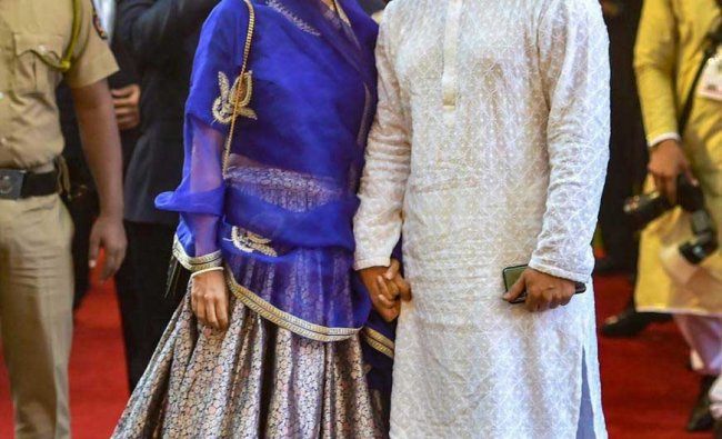 Bollywood actor Aamir Khan with wife-producer Kiran Rao attends the wedding ceremony of industrialist Mukesh Ambani\'s daughter Isha with Anand Piramal at Ambani\'s residence, Antilia, in Mumbai, Wednesday, Dec. 12, 2018. (PTI Photo