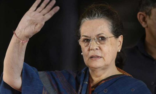Former Congress President Sonia Gandhi at a public meeting after unveiling a life-size bronze statue of late Chief Minister and DMK President M Karunanidhi at YMCA ground, in Chennai, Sunday, Dec. 16, 2018. (PTI)