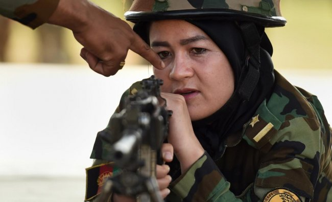 A lady officer from the Afghan National Army (ANA) trains during a four-week training session at Officers\' Training Academy (OTA) in Chennai, Wednesday, Dec 19, 2018. (PTI Photo)