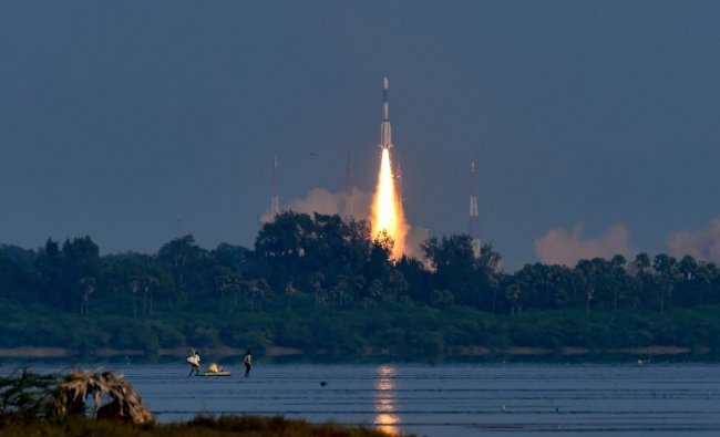 Indian Space Research Organisation\'s (ISRO) communication Satellite GSAT-7A, on board the GSLV-F11, takes off during its launch in Sriharikota, Wednesday, Dec. 19, 2018. (PTI Photo)