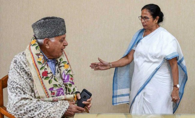 National Conference President Farooq Abdullah meets with West Bengal Chief Minister Mamata Banerjee, in Kolkata. PTI Photo