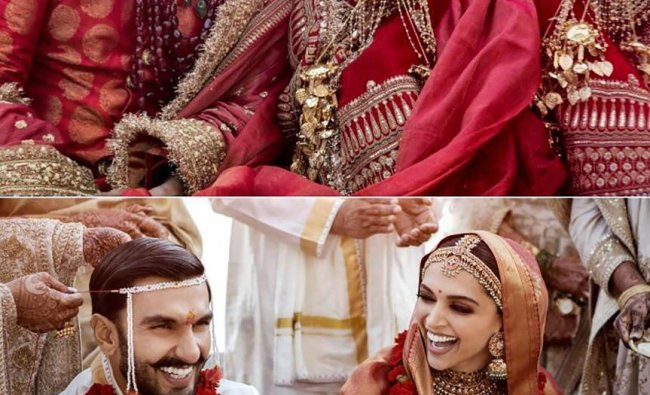 A combo of pictures from the wedding ceremony of Bollywood actors Deepika Padukone and Ranveer Singh, who got married on Nov 14-15 in traditional Konkani and Sindhi ceremonies, at Lake Como in Italy on November 15.