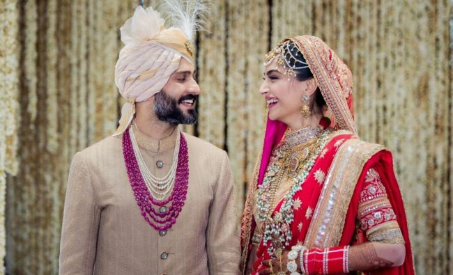 Bollywood actor Sonam Kapoor and Delhi businessman Anand Ahuja tie the knot in a traditional Sikh wedding, in Mumbai on May 8.
