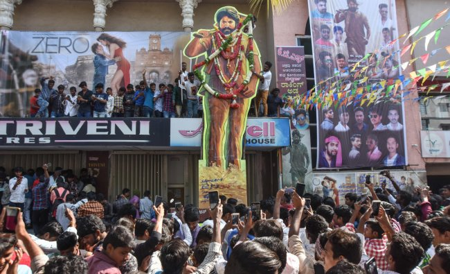 Fans throng theatres to watch KGF on December 21.