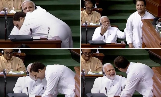 In this combo of four photos is seen Congress President Rahul Gandhi as he hugs Prime Minister Narendra Modi after his speech in the Lok Sabha on \'no-confidence motion\' during the Monsoon Session of Parliament, in New Delhi on July 20, 2018