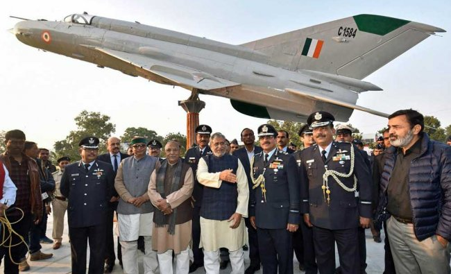 Bihar Deputy Chief Minister and senior BJP leader Sushil Kumar Modi with Air Marshal B P Sinha Air Officer Commanding-in Chief, HQ, CAC, IAF during the inauguration of MiG-21 fighter aircraft at Rajdhani Vatika phase-3, in Patna. PTI Photo