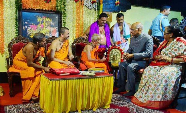 President Ram Nath Kovind with First Lady Savita Kovind visits Udupi Pejavar Math, in Udupi. PTI Photo