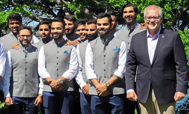 Australian Prime Minister Scott Morrison (R) with skipper Virat Kohli and other Team India players at his official residence, the Kirribilli House in Sydney on the New Year\'s day. PTI/Twitter
