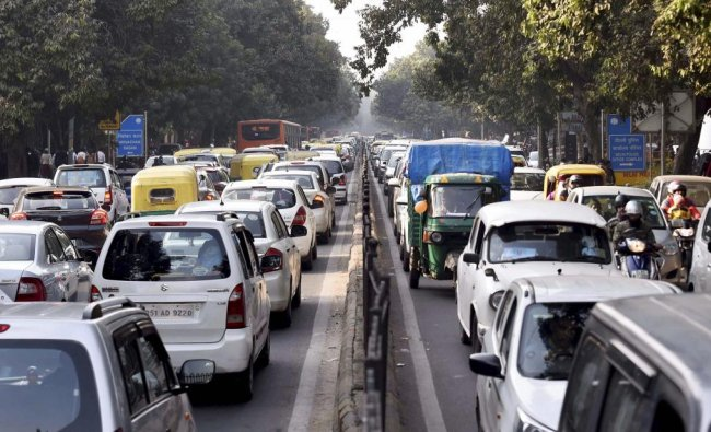 A view of heavy traffic at Connaught Place on the first day of the New Year 2019, in New Delhi. PTI