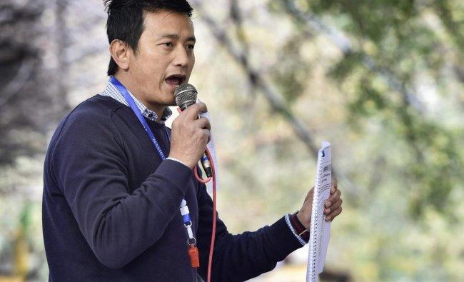 Hamro Sikkim Party leader Baichung Bhutia addresses during a protest against corruption at Jantar Mantar, in New Delhi, Monday, Jan. 7, 2019. (PTI Photo)