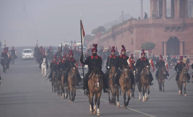 President\'s bodyguards rehearse for the upcoming Republic Day parade 2019 on a cold, winter morning, at Rajpath in New Delhi, Monday, Jan. 7, 2019. (PTI Photo)