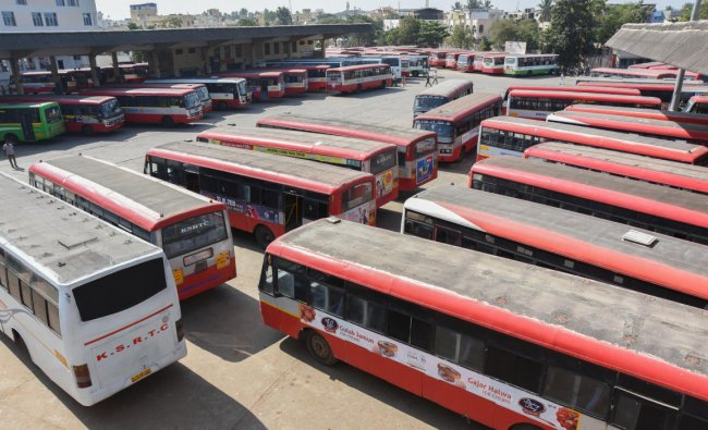 Always busy KSRTC bus stand, wears a deserted lookduring the Nationwide 48-hour Strikeat KSRTC Bus Stand in Davangere on Tuesday. (Photo By Anup R. Thippeswamy)