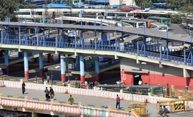 Fewer commuters seen at the BMTC bus station at Majestic during the nationwidestrikecalled by Central trade unions against the alleged anti-labour policies of the central government in Bengaluru on Tuesday. (DH Photo by Janardhan B K)