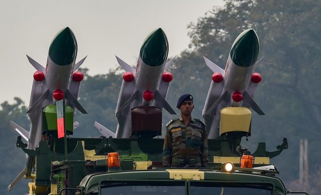 BrahMos missiles on display during the Army Day Parade at Cariappa Parade Ground in New Delhi. PTI photo
