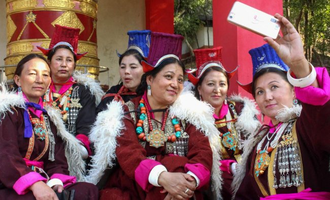 Artists from Ladakh take a selfie as they celebrate week-long Losar Festival, at Indira Gandhi Rashtriya Manav Sangrahalay (IGRMS) in Bhopal. PTI photo