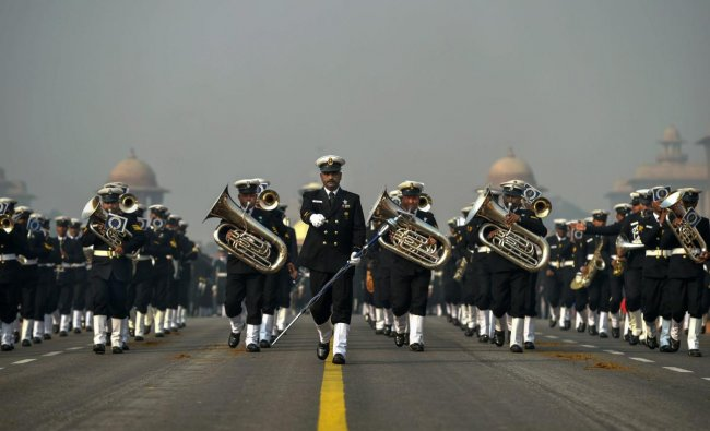 Indian Coast Guard personnel march during the rehearsals for the upcoming Republic Day parade 2019 on a cold morning, at Rajpath in New Delhi. PTI photo