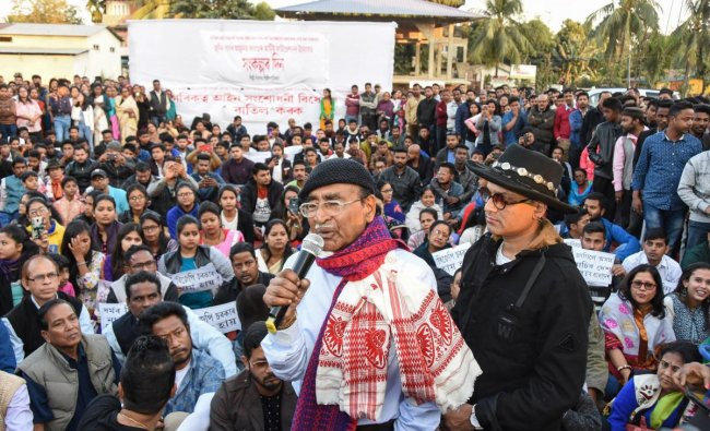 Assamese singer Zubin Garg with Nipen Hazarika during a protest against Citizanship (Amendment) Bill, in Tezpur. PTI photo