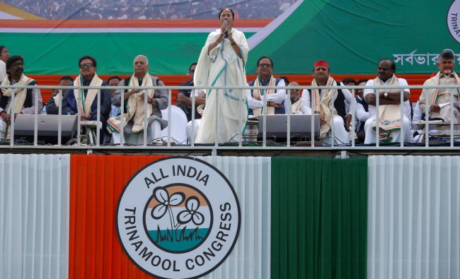 Mamata Banerjee speaks during \