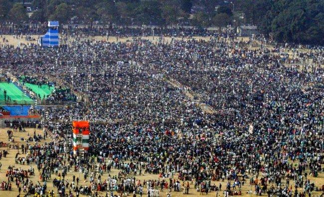 A view of the crowd at Trinamool Congress (TMC)\'s mega rally in Kolkata. (PTI Photo)
