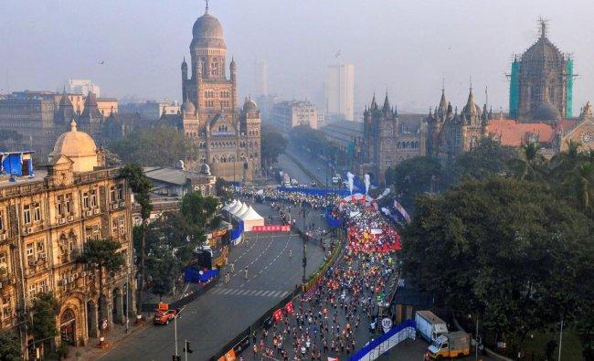 Participants seen at SCMT during the Mumbai Marathon 2019 in Mumbai. (PTI Photo/Mitesh Bhuvad)