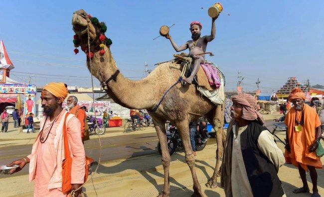 A Naga sadhu rides camel during the ongoing Kumbh Mela-2019, in Allahabad. (PTI Photo)