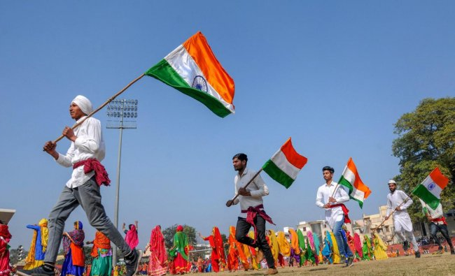 Students take part in the full dress rehearsal for Republic Day celebrations, in Amritsar. (PTI Photo)