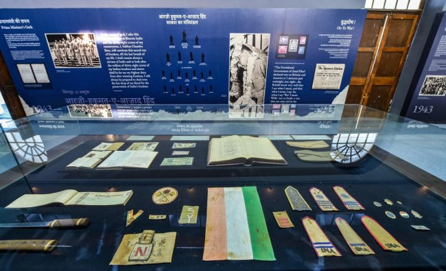 Artefact displayed at the museum of Netaji Subhas Chandra Bose and Indian National Army within the Red Fort complex, in Delhi. (PTI Photo)