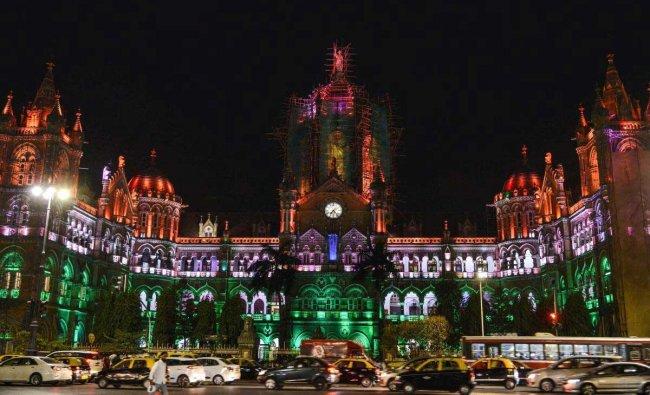 Chhatrapati Shivaji Terminus ( CST) illuminated in tricolour on the eve of Republic Day, in Mumbai, Friday, Jan. 25, 2019. (PTI Photo)