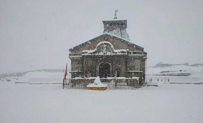 A view of Kedarnath Temple after heavy snowfall, in Rudraprayag district, Friday, Jan. 25, 2018. (PTI Photo)