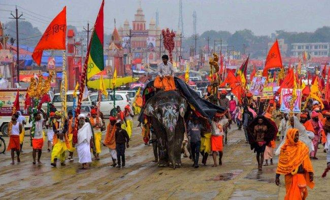 Sadhus take part in a religious procession during Kumbh Mela or pitcher festival, in Allahabad (Prayagraj), Friday, Jan. 25, 2019. (PTI Photo)