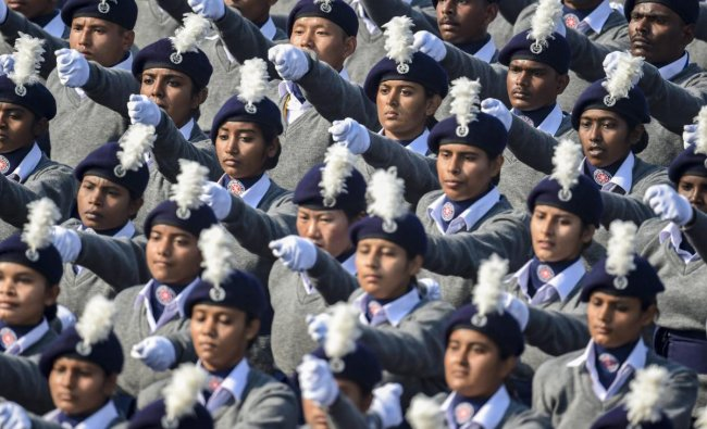 Marching contingent of the National Service Scheme during the 70th Republic Day Parade at Rajpath in New Delhi, Saturday, Jan. 26, 2019. (PTI Photo)