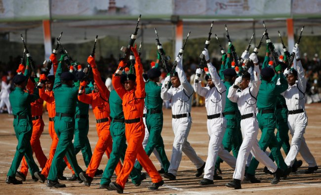 Policemen hold their guns as they perform during Republic Day celebrations in Palanpur, January 26, 2019. REUTERS