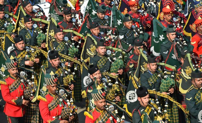 Massed Pipes and Drums Band performs during the 70th Republic Day celebrations at Rajpath in New Delhi, Saturday, Jan. 26, 2019. (PTI Photo)