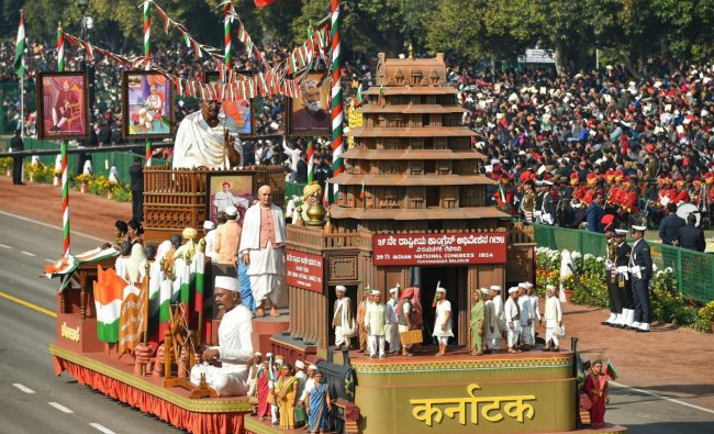 The tableau of Karnataka moves past the saluting dais during the 70th Republic Day Parade at Rajpath in New Delhi, Saturday, Jan. 26, 2019. (PTI Photo)