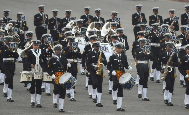 The Naval brass band performs during a full dress rehearsal for the Beating Retreat ceremony at Vijay Chowk, in New Delhi, Sunday, Jan 27, 2019. (PTI Photo)