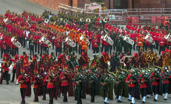 Tri-services band performs during a full dress rehearsal for the Beating Retreat ceremony at Vijay Chowk, in New Delhi, Sunday, Jan 27, 2019. (PTI Photo)