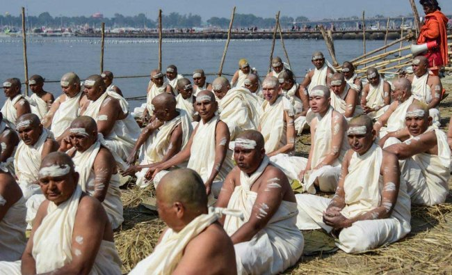 Newly initiated sadhvis participate in a ritual at river Ganga during the ongoing Kumbh Mela, in Allahabad, Wednesday, Jan 30, 2019. (PTI Photo)