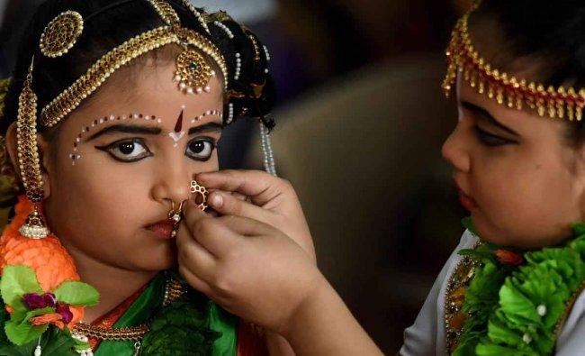 Children dress up to take part in the 10th Hindu Spiritual and Service Fair 2019, in Chennai, Thursday, Jan 31, 2019. (PTI Photo)