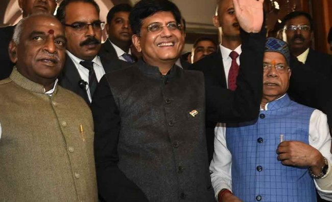 Finance Minister Piyush Goyal with MoS Finance ministers Shiv Pratap Shukla and P Radhakrishnan arrives in the Parliament to Present the interim Budget 2019-20, in New Delhi, Friday, 1 Feb, 2019. (PTI Photo)