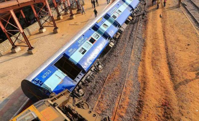 Rescue and relief works in progress after the Jabalpur-Ajmer Dayodaya Express train derailed at Sanganer Railway Station in Jaipur, Friday, Feb 1,2019. (PTI Photo)